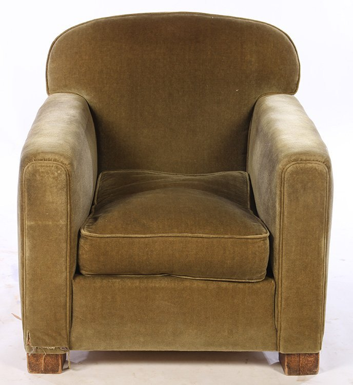 PAIR FRENCH ART DECO UPHOLSTERED CLUB CHAIRS 1940 - 3