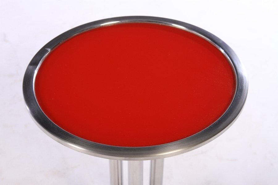 ART DECO CHROME RED DRINKS TABLE 1930 - 2