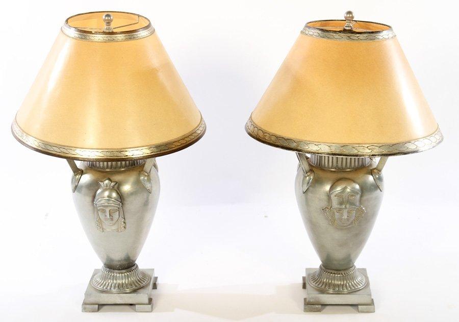PAIR ART DECO CAST ALUMINUM TABLE LAMPS