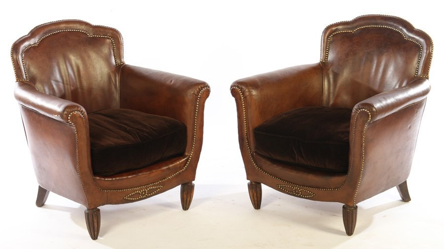 PAIR ART DECO FRENCH LEATHER CLUB CHAIRS 1940