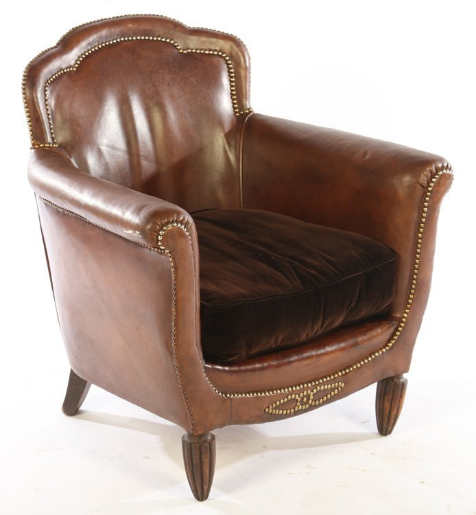 PAIR ART DECO FRENCH LEATHER CLUB CHAIRS 1940 - 2
