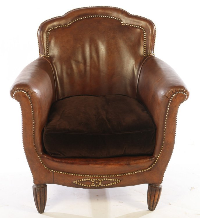 PAIR ART DECO FRENCH LEATHER CLUB CHAIRS 1940 - 3