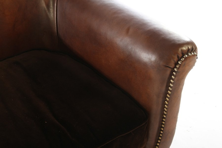 PAIR ART DECO FRENCH LEATHER CLUB CHAIRS 1940 - 5