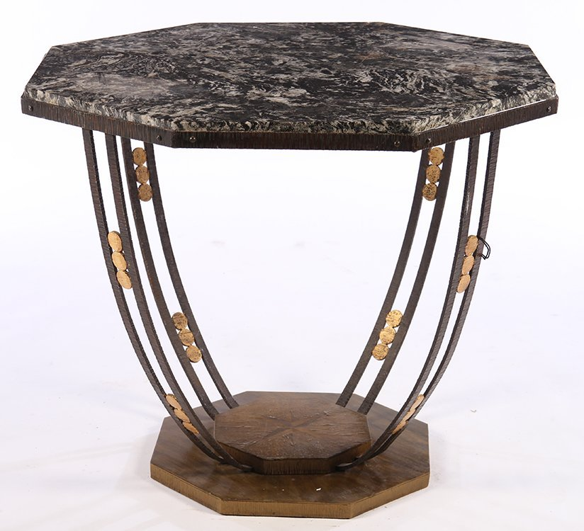 ART DECO FER FORGE CENTER TABLE MARBLE TOP