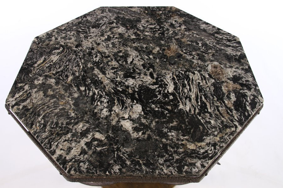 ART DECO FER FORGE CENTER TABLE MARBLE TOP - 2