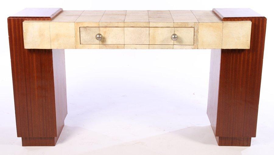 ART DECO MAHOGANY & PARCHMENT CONSOLE TABLE