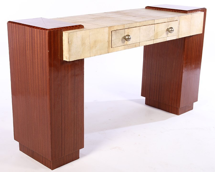 ART DECO MAHOGANY & PARCHMENT CONSOLE TABLE - 2