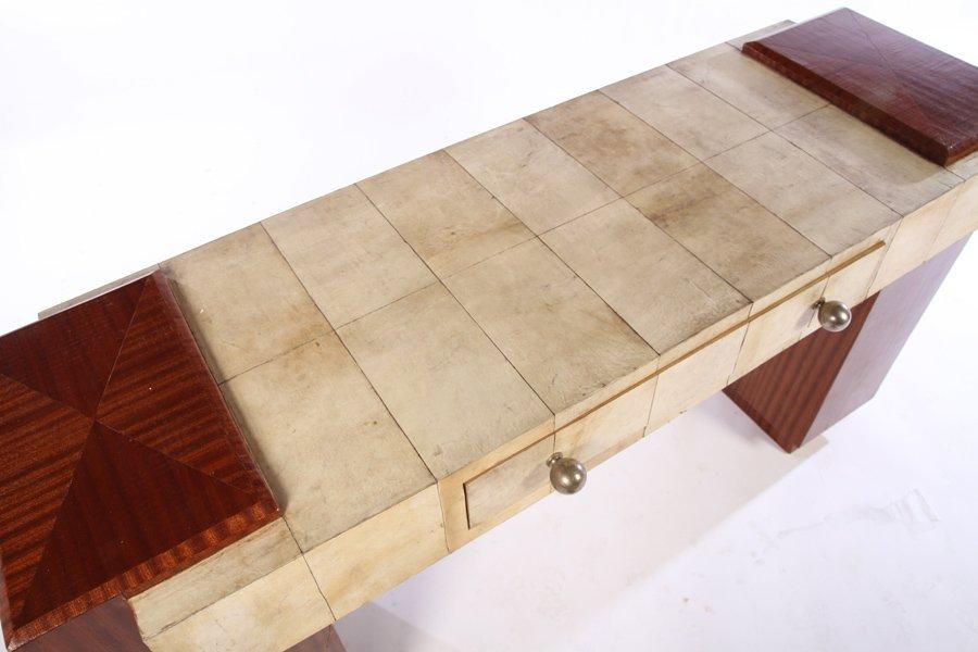 ART DECO MAHOGANY & PARCHMENT CONSOLE TABLE - 3