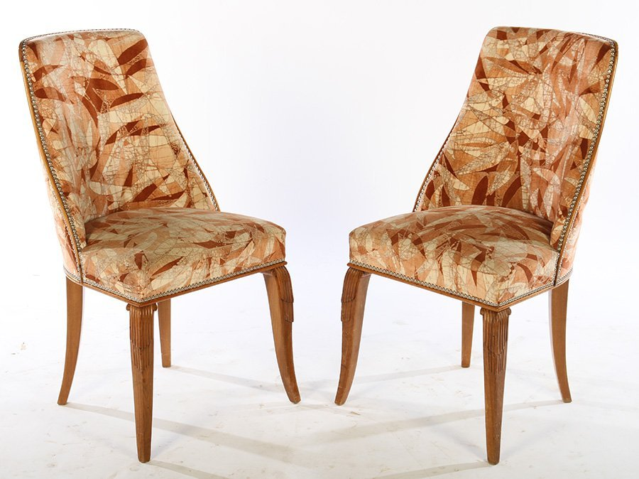 PAIR ART DECO SIDE CHAIRS SUEDE FABRIC 1930