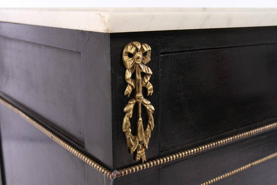 JANSEN EBONIZED 3 DRAWER MARBLE TOP COMMODE 1940 - 4