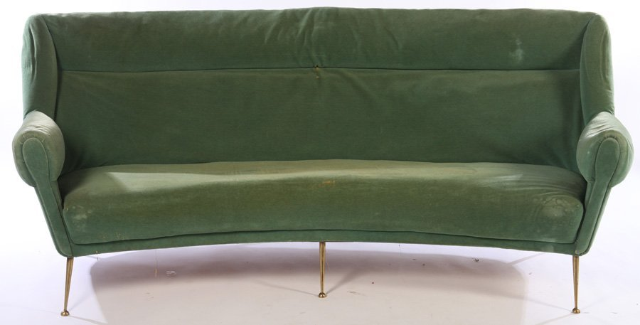 CURVED ITALIAN SOFA 6 BRASS LEGS 1960 - 2