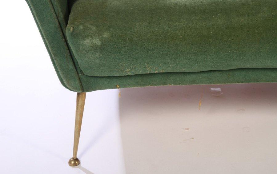 CURVED ITALIAN SOFA 6 BRASS LEGS 1960 - 4