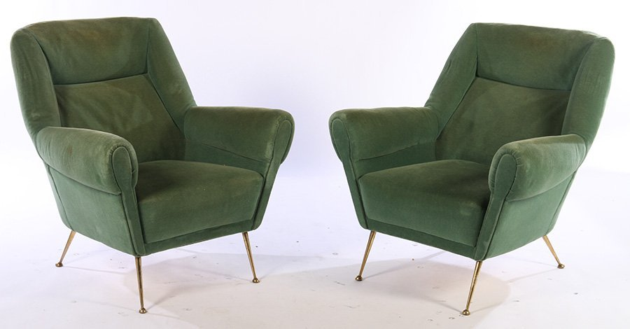 UPHOLSTERED PAIR ITALIAN CLUB CHAIRS BRASS 1950