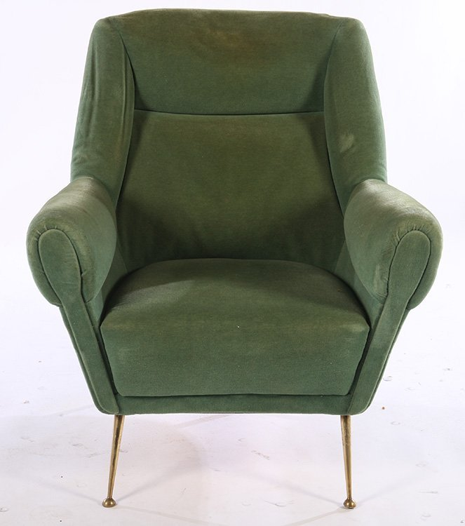 UPHOLSTERED PAIR ITALIAN CLUB CHAIRS BRASS 1950 - 3
