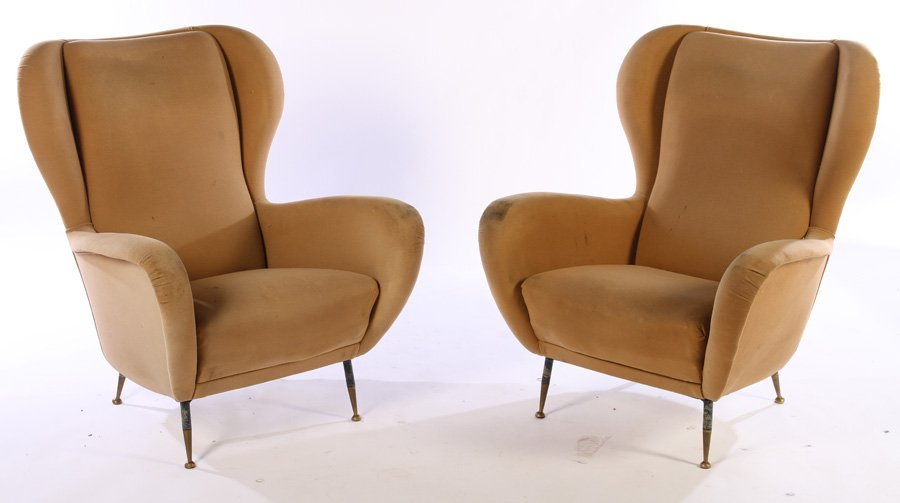 PAIR UPHOLSTERED ITALIAN CLUB CHAIRS 1950