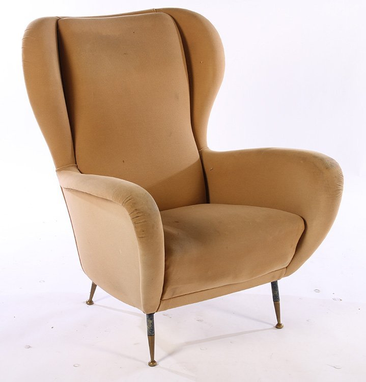 PAIR UPHOLSTERED ITALIAN CLUB CHAIRS 1950 - 2