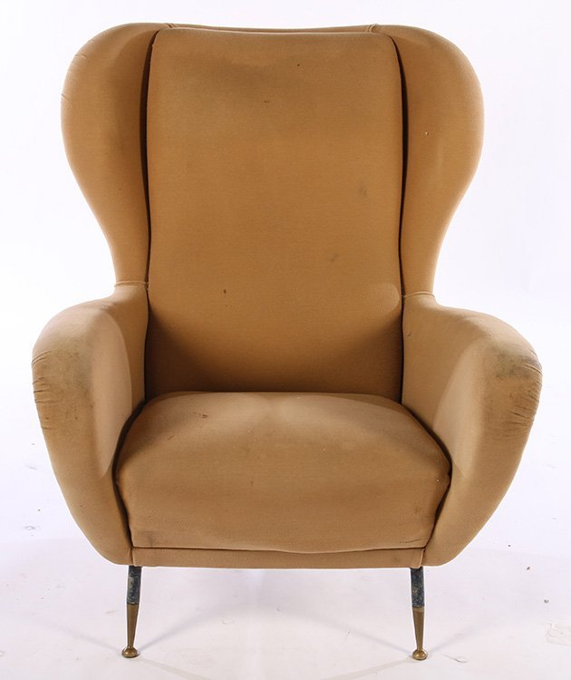 PAIR UPHOLSTERED ITALIAN CLUB CHAIRS 1950 - 3