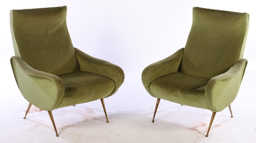PAIR ITALIAN UPHOLSTERED CLUB CHAIRS MARCO ZANUSO C1960