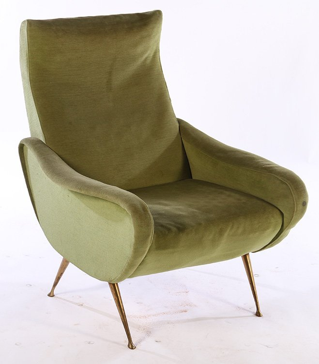 PAIR ITALIAN UPHOLSTERED CLUB CHAIRS MARCO ZANUSO C1960 - 2