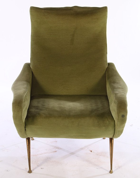 PAIR ITALIAN UPHOLSTERED CLUB CHAIRS MARCO ZANUSO C1960 - 3