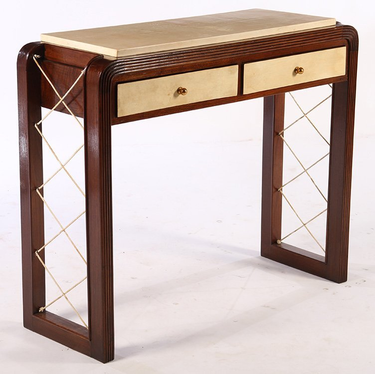 ITALIAN WOOD PARCHEMENT CONSOLE TABLE 2 DRAWERS