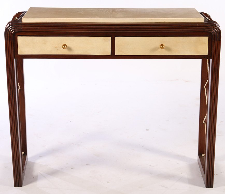 ITALIAN WOOD PARCHEMENT CONSOLE TABLE 2 DRAWERS - 2