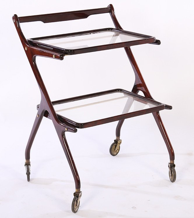 TWO TIER ITALIAN SERVING CART REMOVABLE TRAY 1950