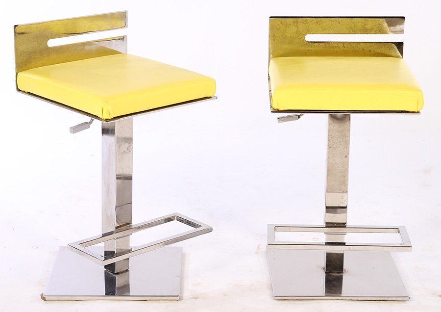 PAIR CHROME ADJUSTABLE BAR STOOLS 1970