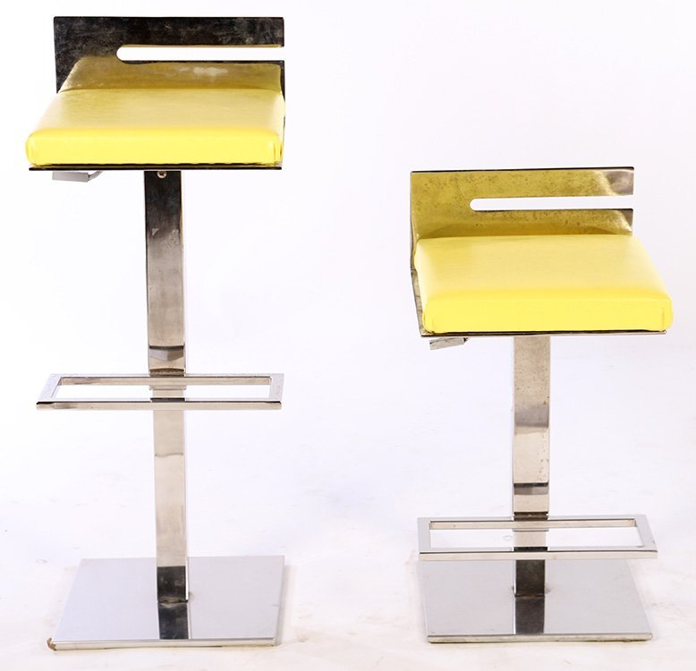 PAIR CHROME ADJUSTABLE BAR STOOLS 1970 - 2