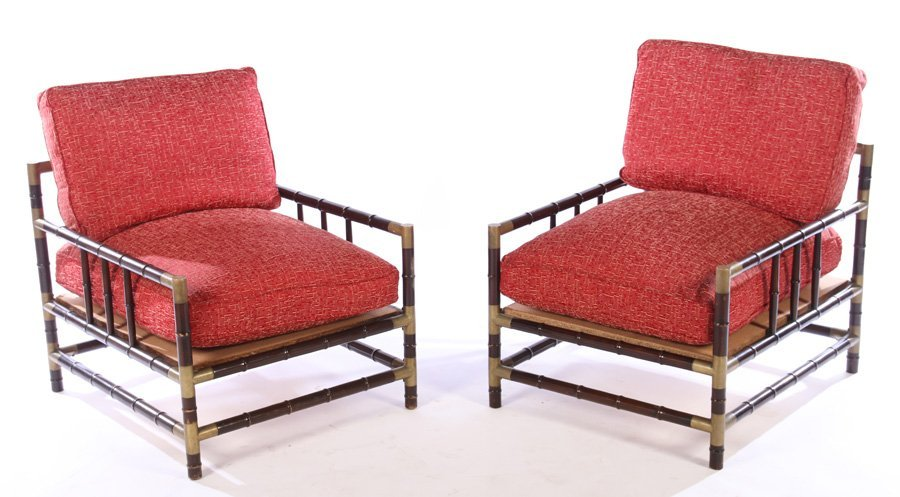 PAIR BILLY HAINES STYLE FAUX BAMBOO LOUNGE CHAIRS