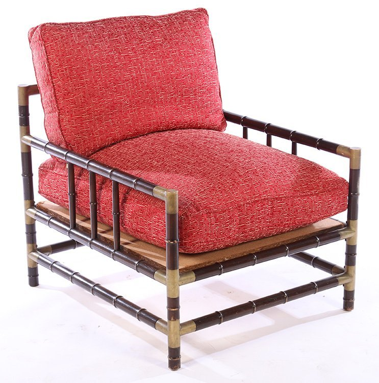 PAIR BILLY HAINES STYLE FAUX BAMBOO LOUNGE CHAIRS - 2