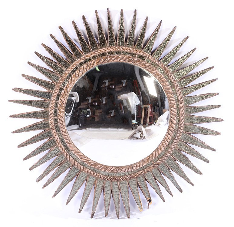 CARVED WOOD RESIN COLORED GLASS SUNBURST MIRROR