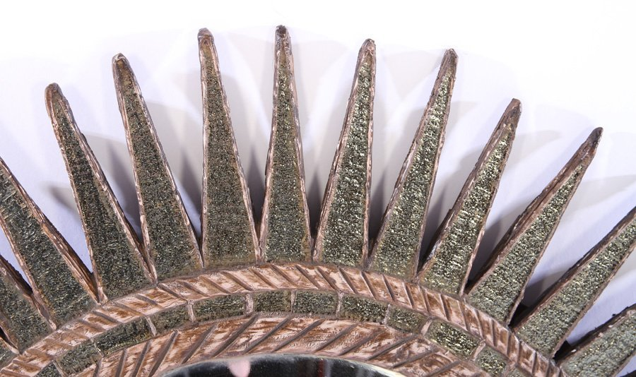 CARVED WOOD RESIN COLORED GLASS SUNBURST MIRROR - 2