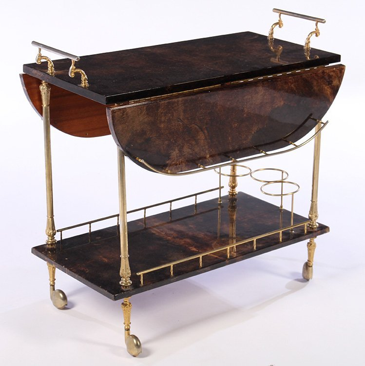 ALDO TURO GOAT SKIN SERVING CART 1960