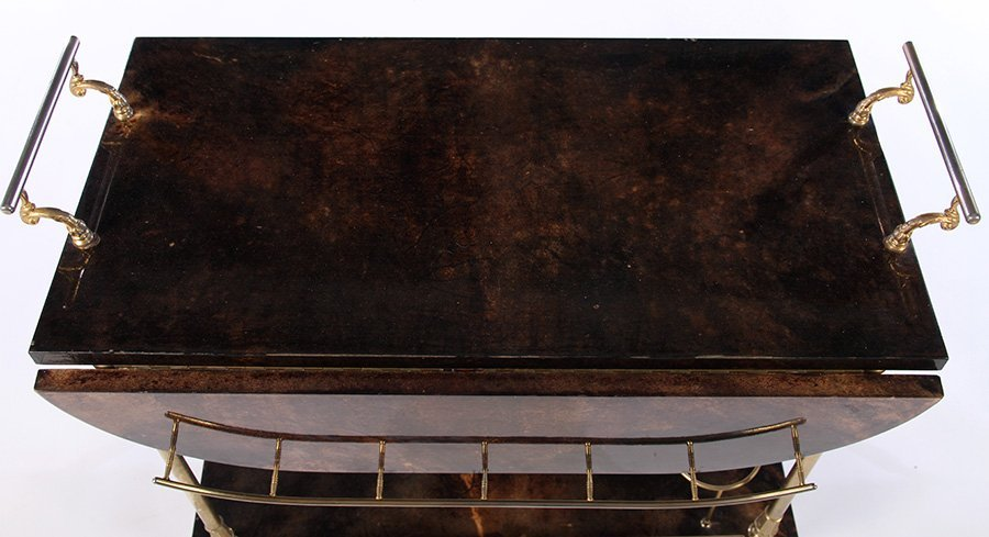 ALDO TURO GOAT SKIN SERVING CART 1960 - 3