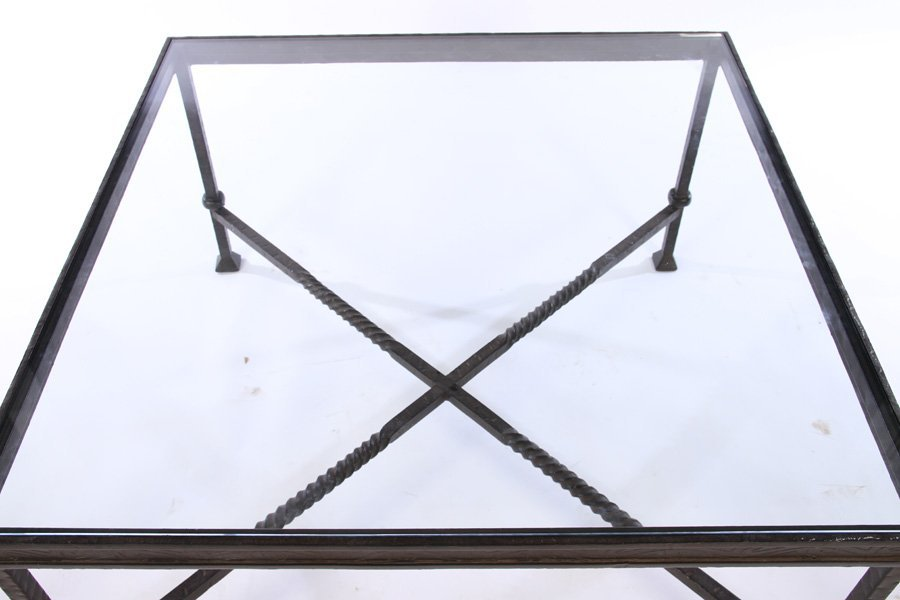 LARGE WROUGHT IRON COFFEE TABLE INSET GLASS TOP - 2