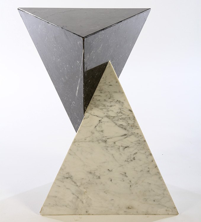 2 COLOR MARBLE PEDESTAL INTERCONNECTING PYRAMIDS