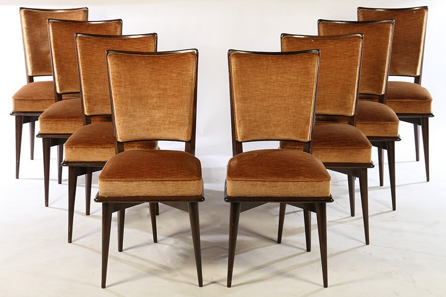 SET OF 8 FRENCH MID CENTURY DINING CHAIRS 1940