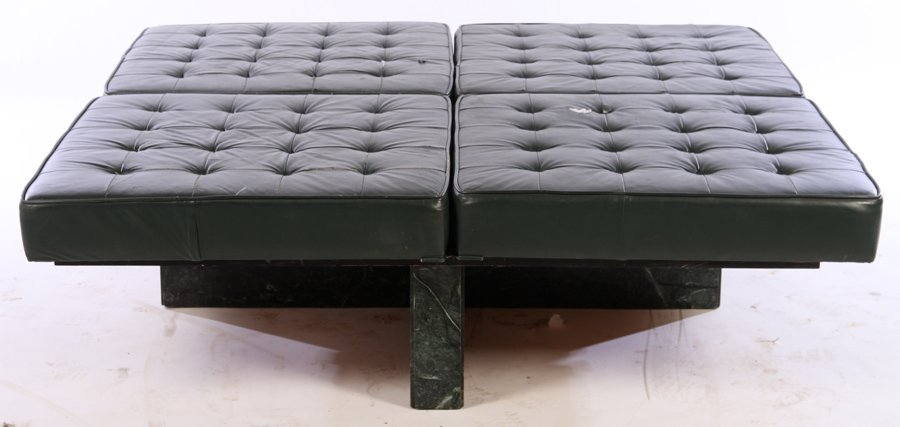 MID CENTURY SQUARE BENCH 4 LEATHER CUSHIONS