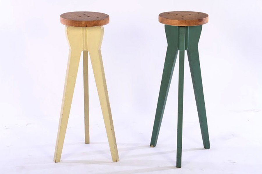PAIR OF JEAN PROUVE STYLE BAR STOOLS