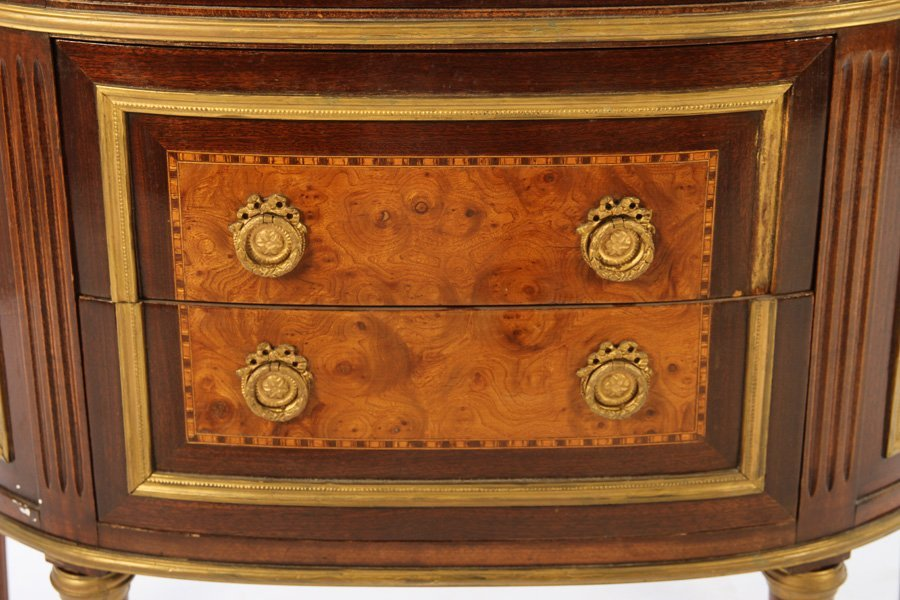 PAIR LOUIS XVI DEMILUNE CABINETS MARBLE TOP 1910 - 6