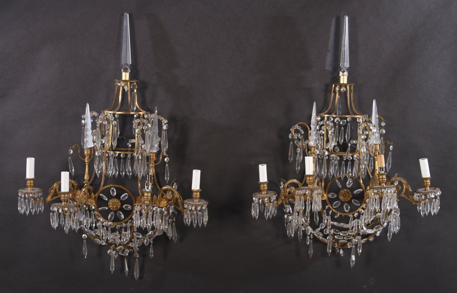 PAIR BRONZE MULTI TIERED SCOCNES 4 LIGHTS