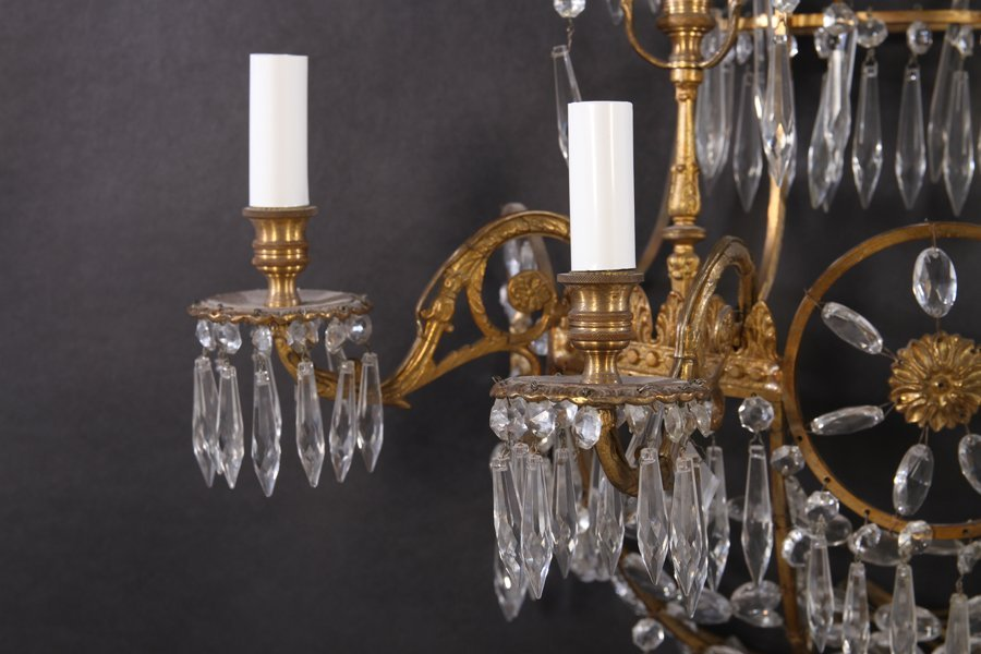 PAIR BRONZE MULTI TIERED SCOCNES 4 LIGHTS - 5