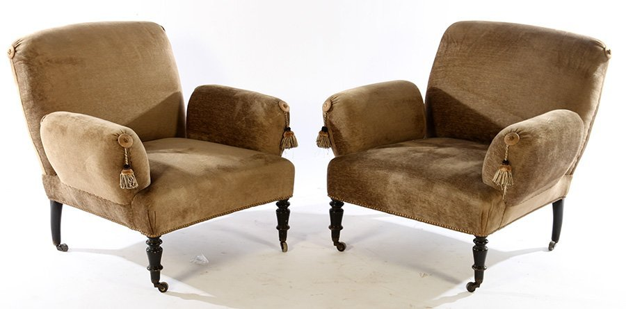 PAIR FRENCH NAPOLEON III UPHOLSTERED CHAIRS 1890