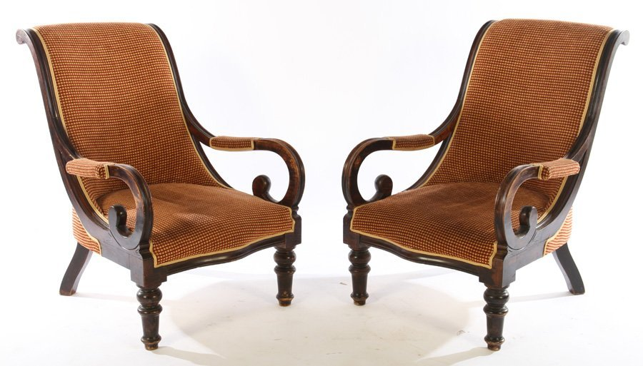PAIR FRENCH CAMPECHE CHAIRS OPEN ARMS
