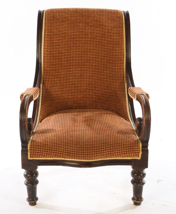 PAIR FRENCH CAMPECHE CHAIRS OPEN ARMS - 3