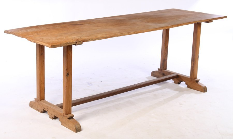 19TH CENT. WALNUT SINGLE BOARD TOP TABLE