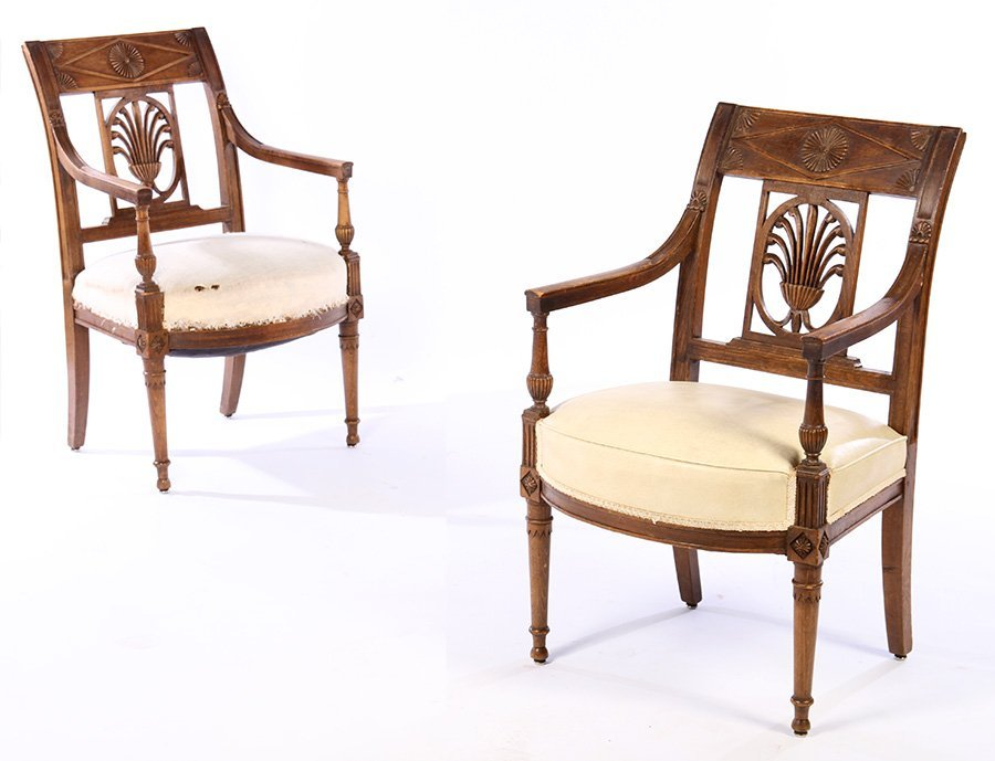 PAIR FRENCH DIRECTOIRE ARM CHAIRS 1920