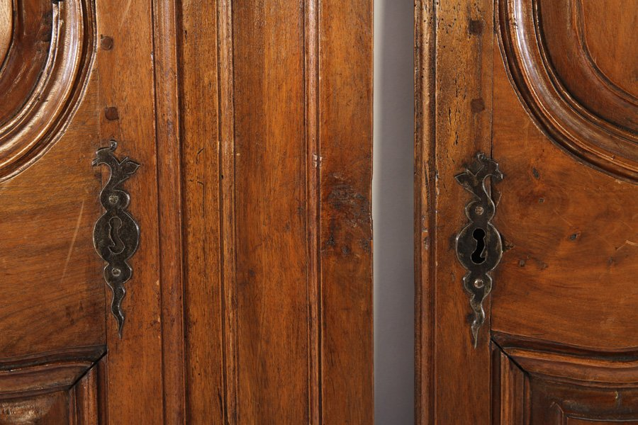 19TH CENT. FRENCH CARVED WALNUT DOORS - 4