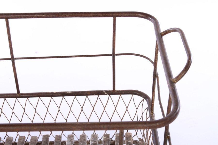FRENCH WROUGHT IRON BREAD CART SLAT WOOD 1900 - 3